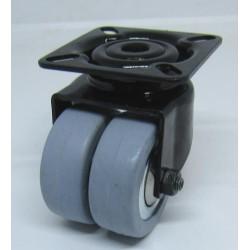 Double roue avec plaque en caoutchouc noir