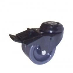 Roulettes doubles polyuréthane noir chromé 50 mm Ø  70 mm de hauteur avec freins