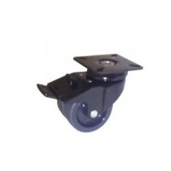 Roulettes doubles polyuréthane noir chromé avec platine et freins