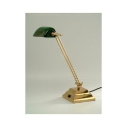 Lampe halogène en laiton poli, abat-jour en verre vert